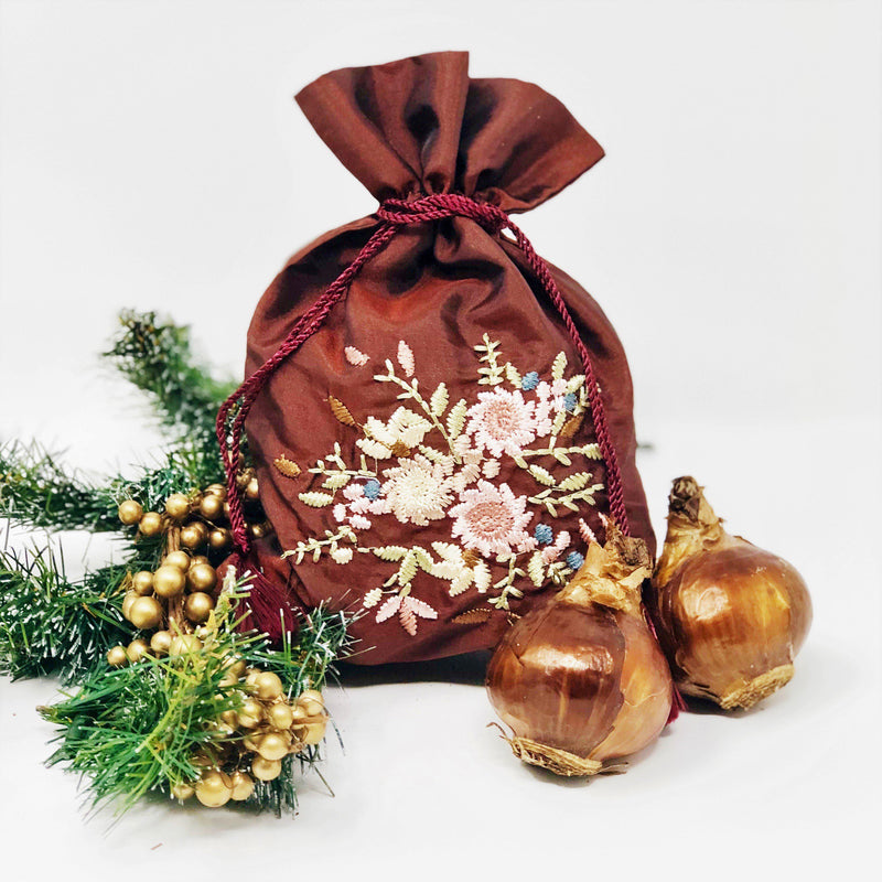 Paperwhite Gift: (5 Bulbs) in an Embroidered Merlot Bag - FREE SHIPPING!