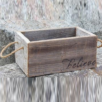 "Reclaimed Wood Planter with ""Believe"""