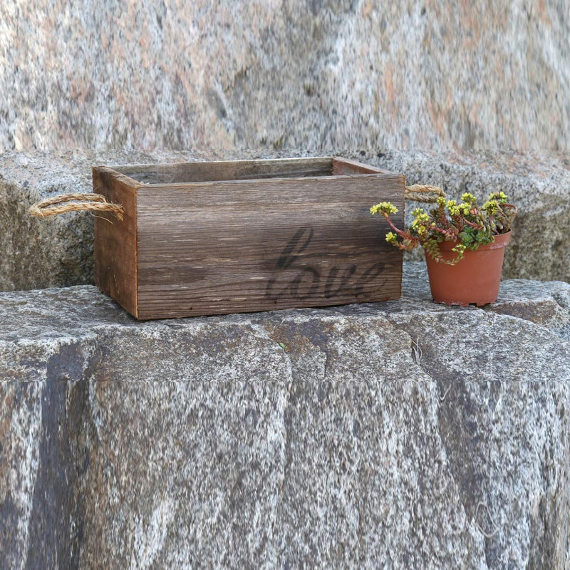 "Reclaimed Wood Planter with ""Love"""