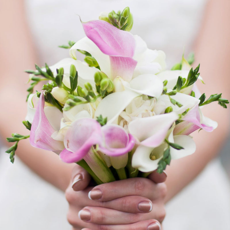 Hands holding bouquet of freesia & calla blend pastel lace
