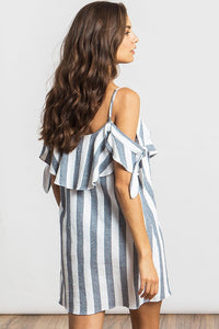 misa nicolette striped off_shoulder dress