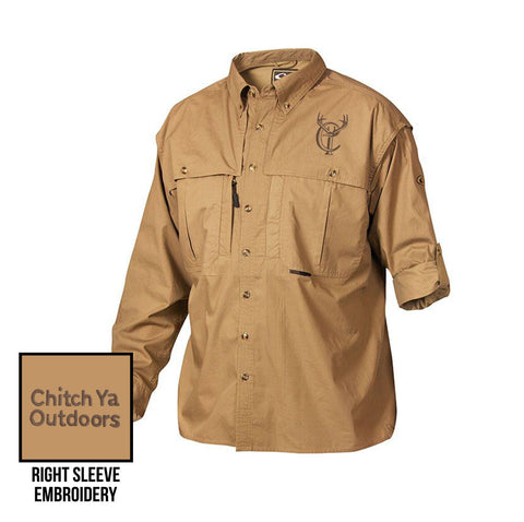 Khaki Long Sleeve Cotton Wingshooter's Shirt with Stay Cool™ Fabric