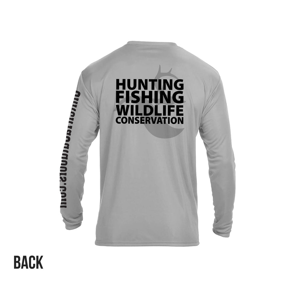 "Slate Grey ""Hunting Fishing Wildlife Conservation"" LS Perf. Tee"