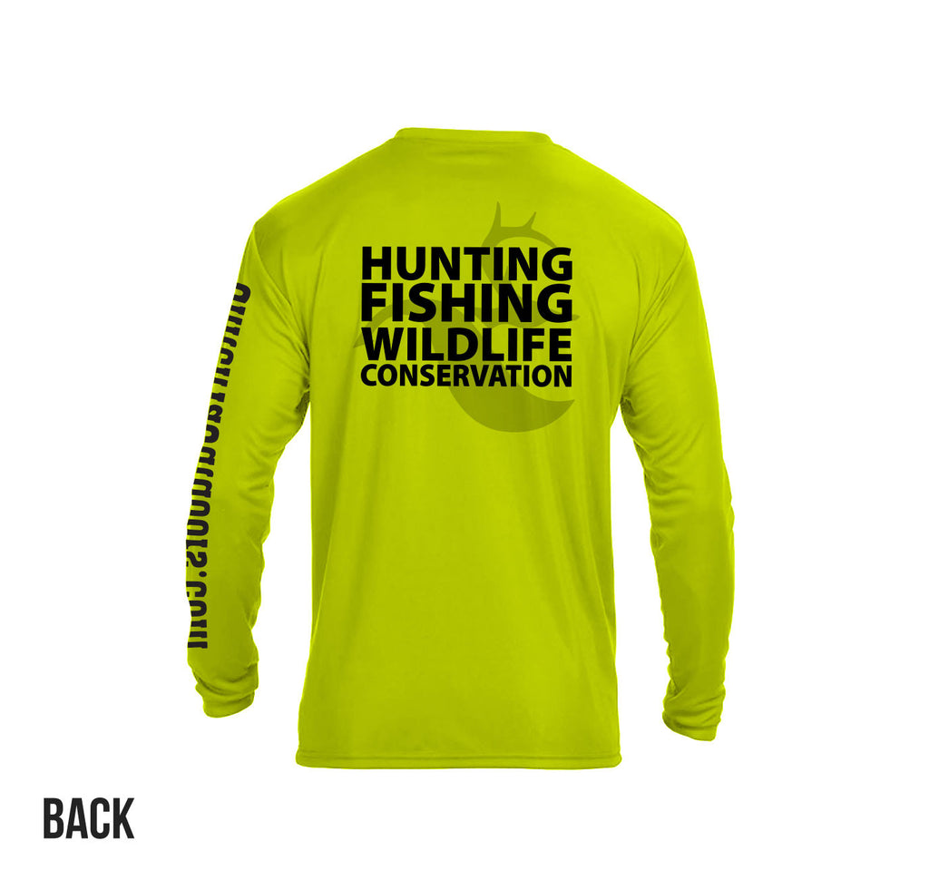 "Safety Yellow ""Hunting Fishing Wildlife Conservation"" LS Perf. Tee"
