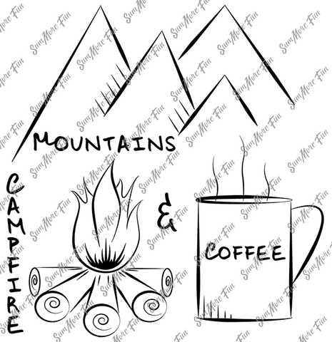 Mountains, Campfire and Coffee Digital Stamp Pack