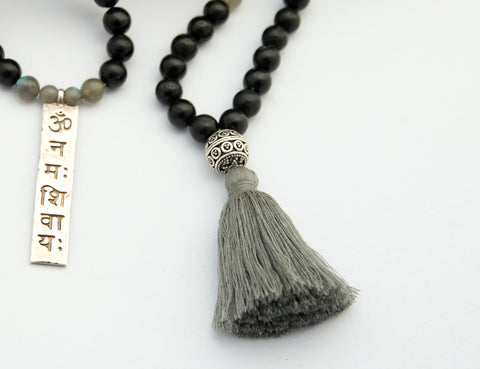 Gorakshanatha- Black Tourmaline and Labradorite Mala - Divine Yoga Shop