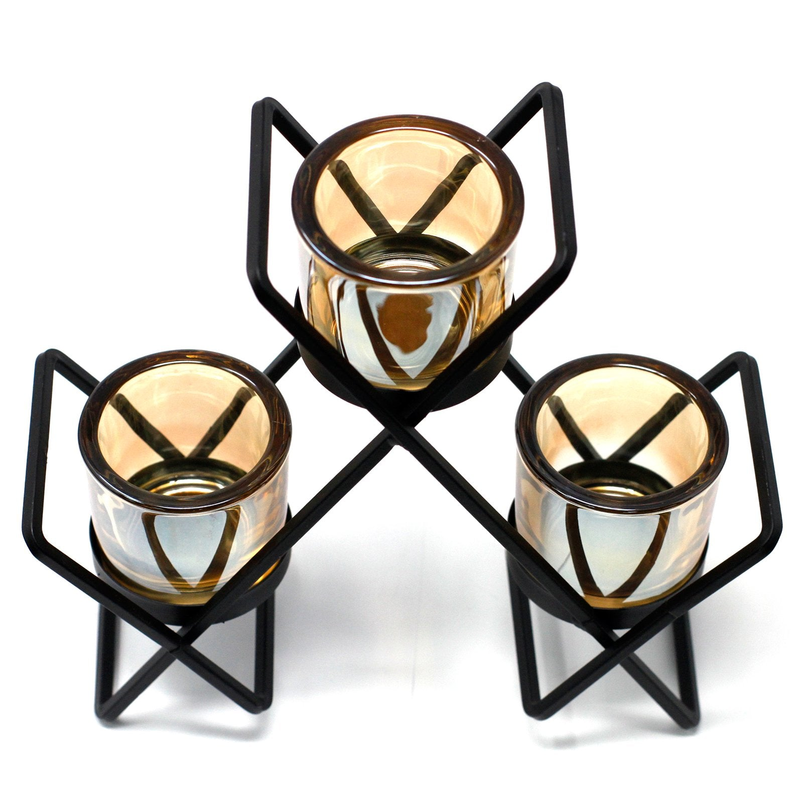 Candle Holder- 3 Glass Cups - Divine Yoga Shop