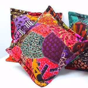 Java Batik Patchwork Cushion- Vibrant Pink - Divine Yoga Shop