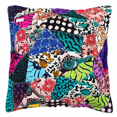 Java Batik Patchwork Cushions- Nature Green - Divine Yoga Shop