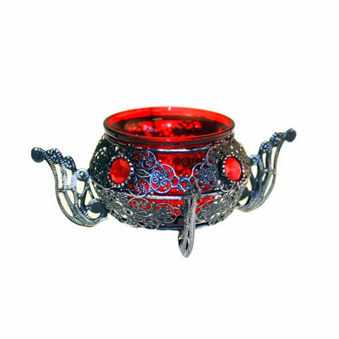 Moorish Single Pot Red Candle Holder - Divine Yoga Shop