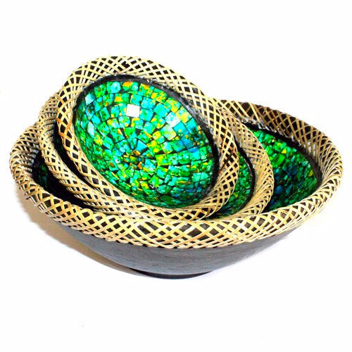 RATTAN MOSAIC BOWLS SET OF THREE - Golden Green - Divine Yoga Shop