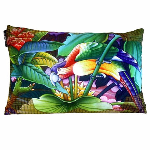 Exotic Flora & Parrot Cushion Cover - Divine Yoga Shop