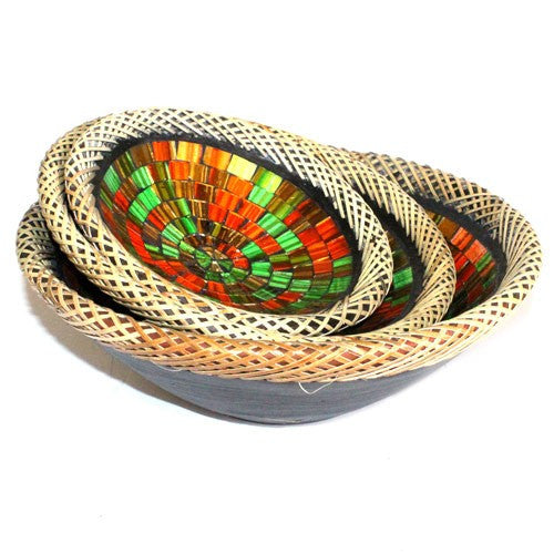 RATTAN MOSAIC BOWLS SET OF THREE - Ruby Dusk - Divine Yoga Shop