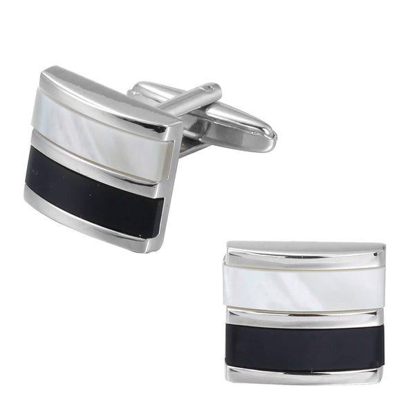 Silver Cufflinks with Black & Marble White Strips