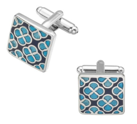Blue & Silver Patterned Cufflinks
