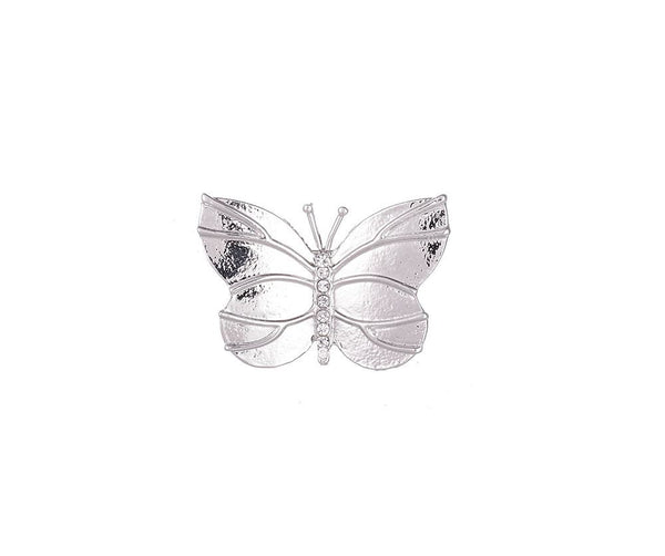 Silver diamante butterfly brooch
