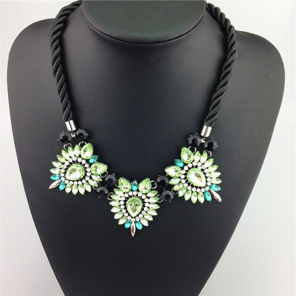 Daisy Flower Statement Necklace on a Soft Cotton Collar Cord.