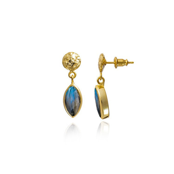 Athena Gold Stud and Marquis Gemstone Drop Earring with Labradorite