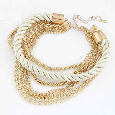 Braided Rope Chain with Clasp Charm Bracelet