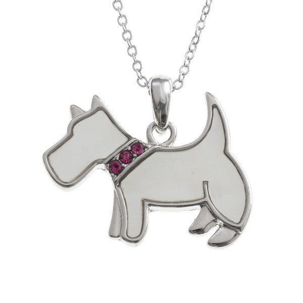 Dog Pendant with Inset Stones Collar - available in two colours.