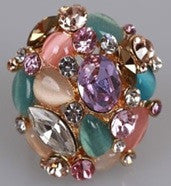 Pastel Coloured Crystal And Glass Stud Cluster Ring