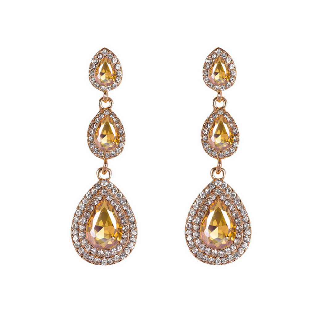 Carina Champagne & Diamond Drop Earrings by PEARL + CREEK