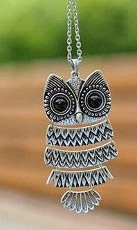 Vintage Long Chain Owl Pendant Necklace - available in two colours