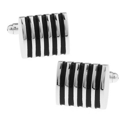 Black & Silver Thin Striped Cufflinks