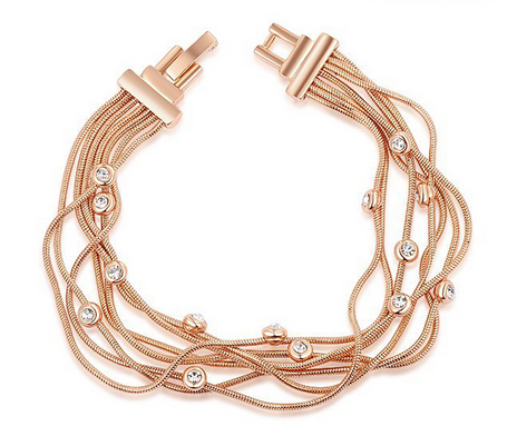 Vivica Austrian Crystals - Platinum or Rose Gold Strand Bracelet by PEARL + CREEK