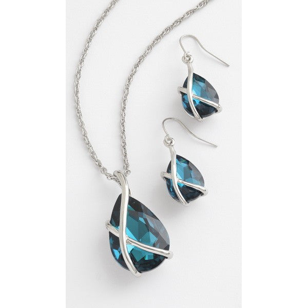 Blue Glass Crystal in Stylish Metal Setting Necklace & Earrings Set