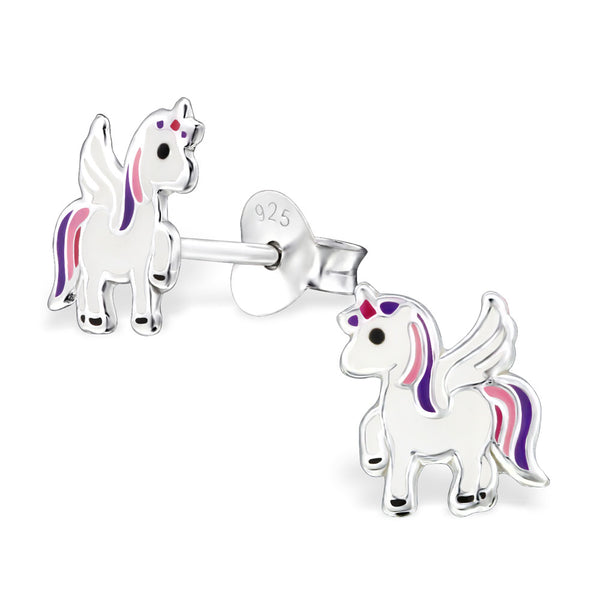 Unicorn - 925 Sterling Silver Ear Studs