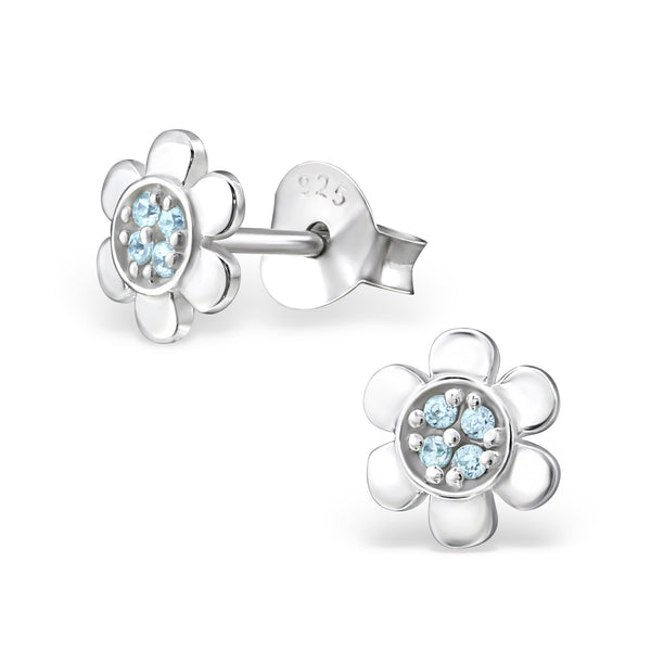 Flower - 925 Sterling Silver Cubic Zirconia Ear Studs