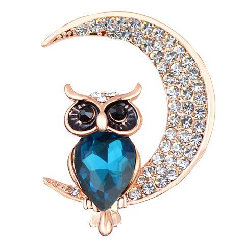 Owl on Crescent Moon Brooch