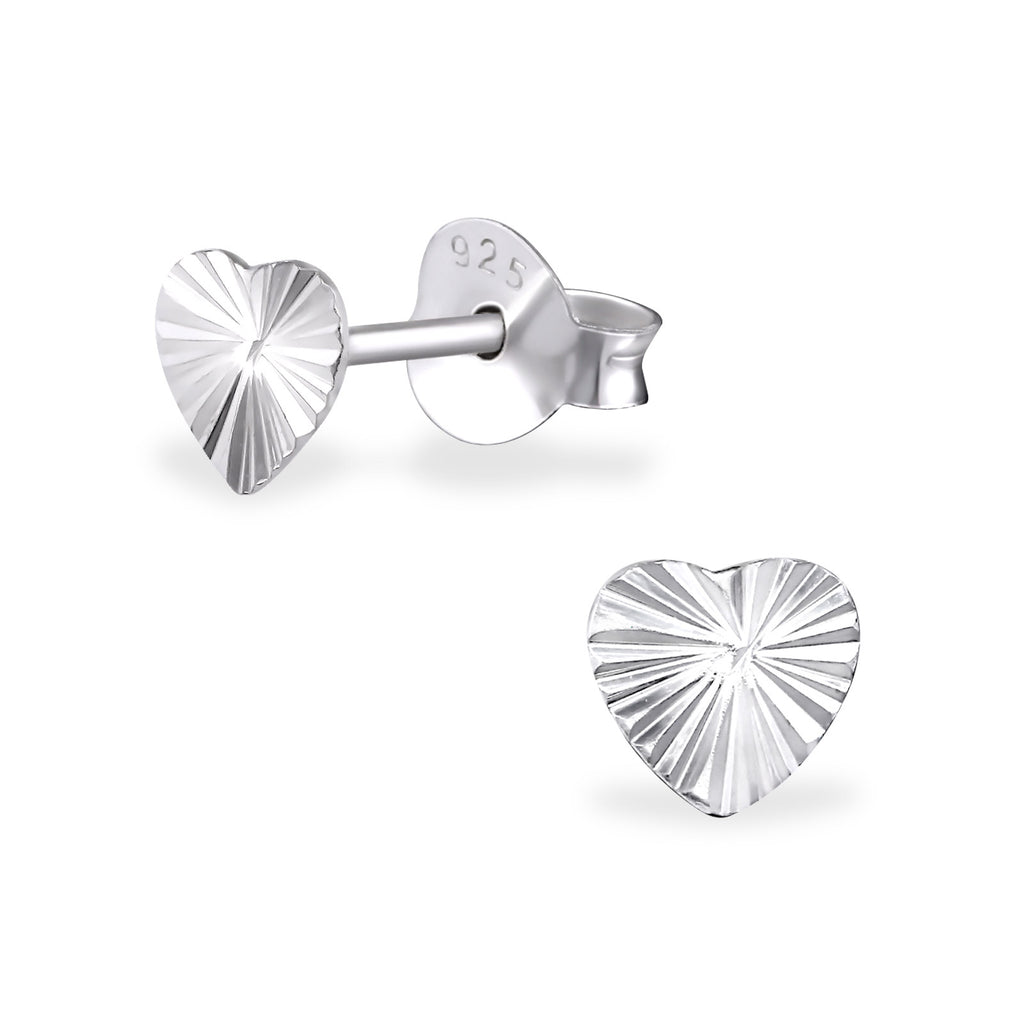 Heart Shaped 925 Sterling Silver Plain Ear Studs