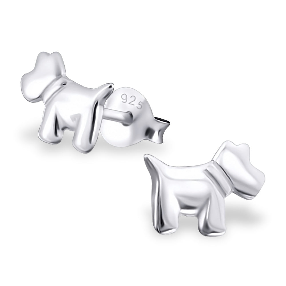 Dog - 925 Sterling Silver Plain Ear Studs