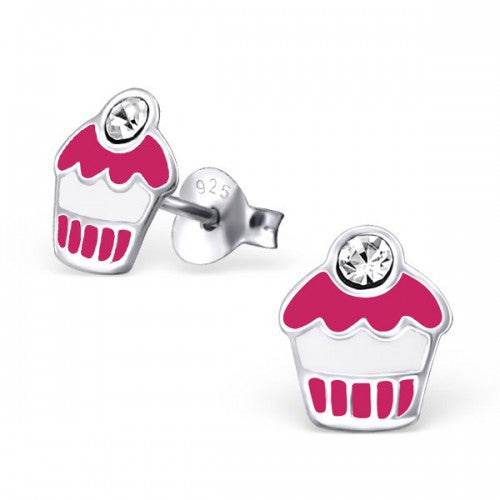 Cupcake studs - 925 Sterling Silver + Epoxy Colour Crystal Ear Studs