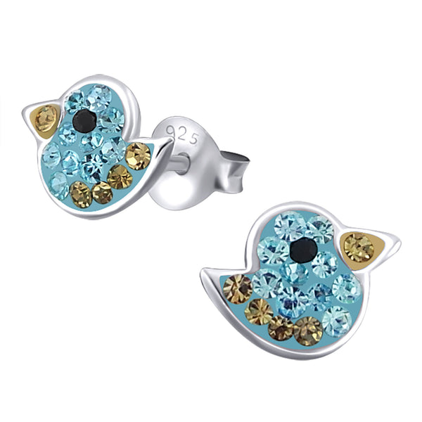 Bird - 925 Sterling Silver Crystal Ear Studs