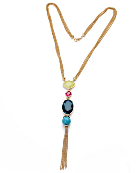 Gala Tassel and Gem Rope Chain Necklace by PEARL + CREEK