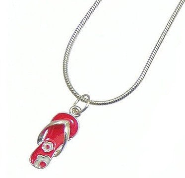 Enamel Flip Flop Pendant on Snake Chain - available in other colours.