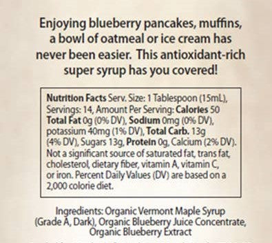 Blueberry organic Maple syrup