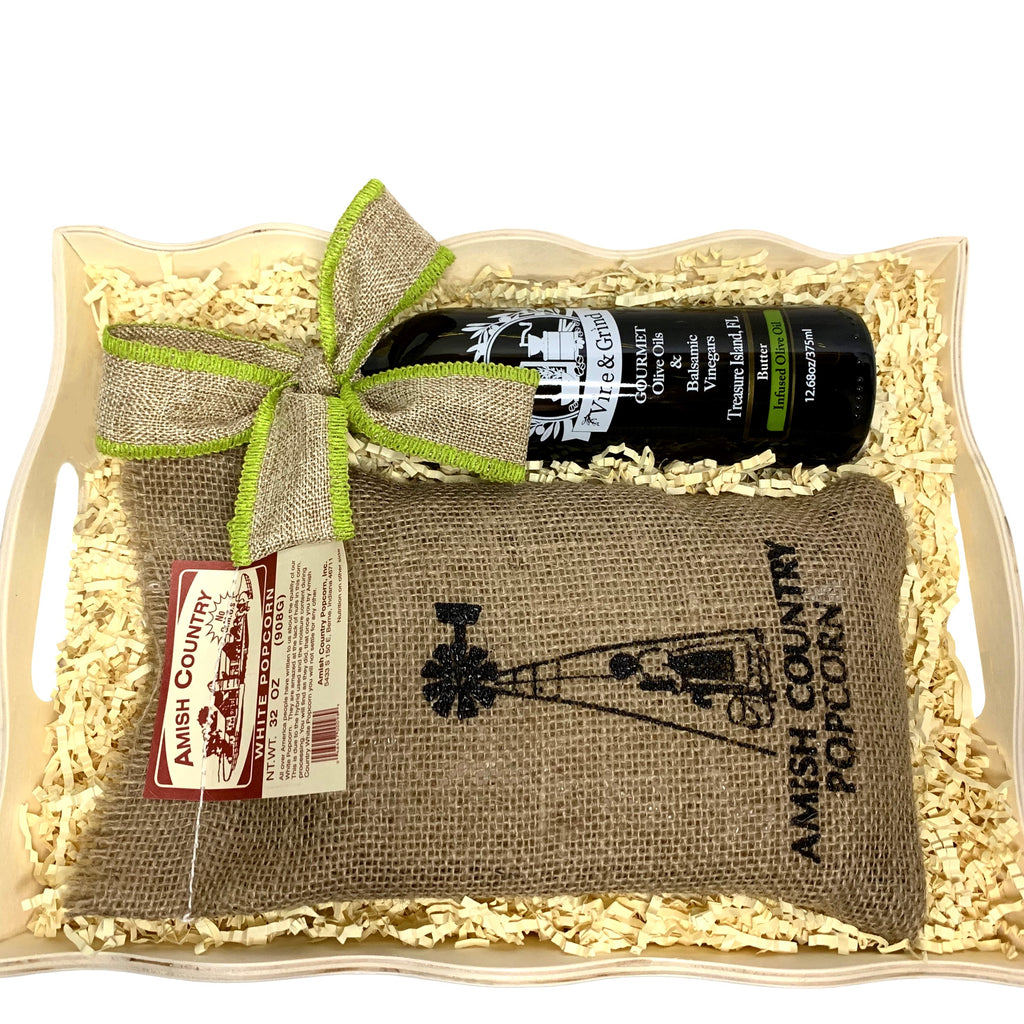 Butter Olive Oil and popcorn tray is a favorite gift at Vine and Grind Olive Oil and Balsamic shop