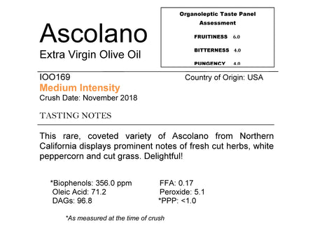 This rare, coveted variety of Ascolano from Northern California displays prominent notes of fresh cut herbs, white peppercorn and cut grass. Delightful!