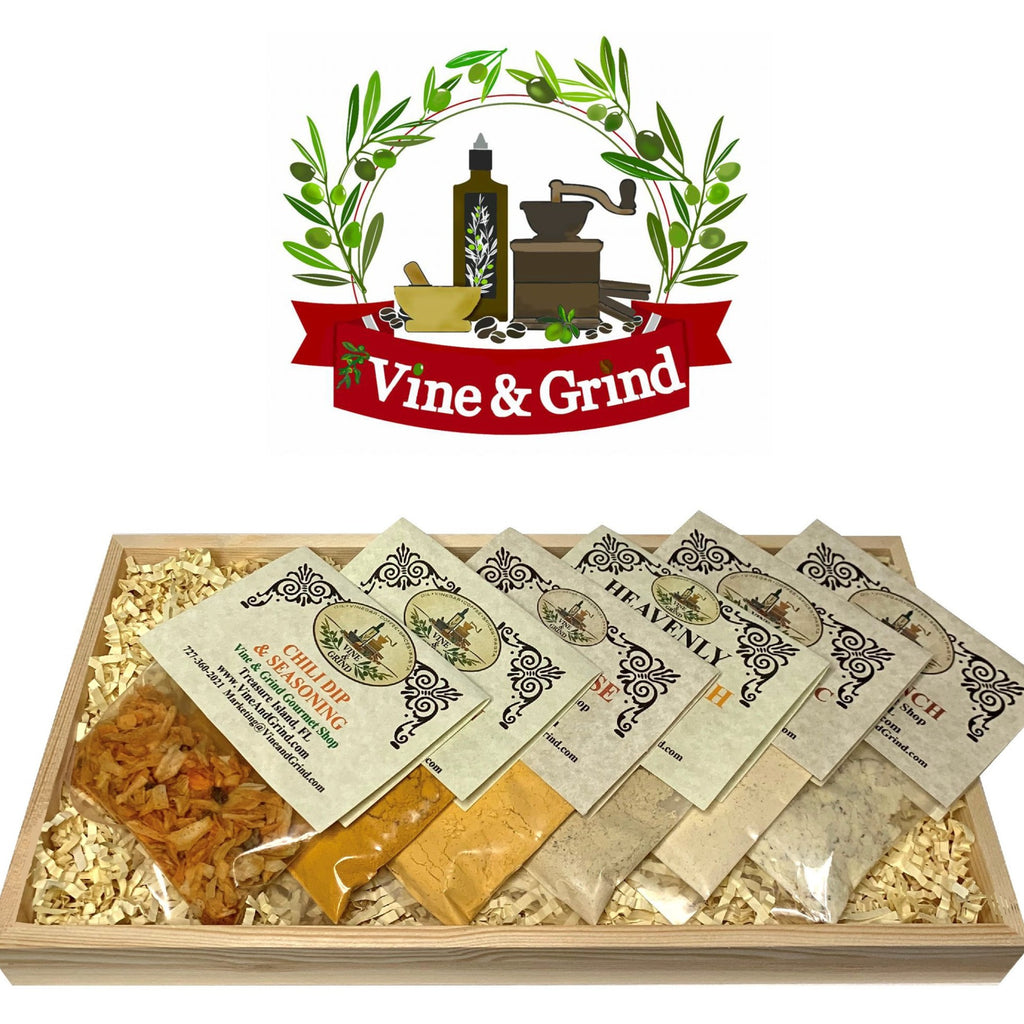 Cheese Ball and Dip Mix Gift tray at Vine and Grind Olive Oil and Balsamic Vinegar shop Treasure Island, FL