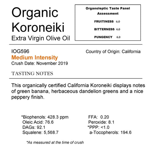 Medium- Organic Koroneiki Extra Virgin Olive Oil