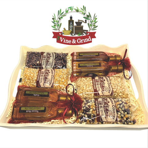 olive oil and popcorn tray is a great Family gift from Vine and Grind in Treasure Island, FL