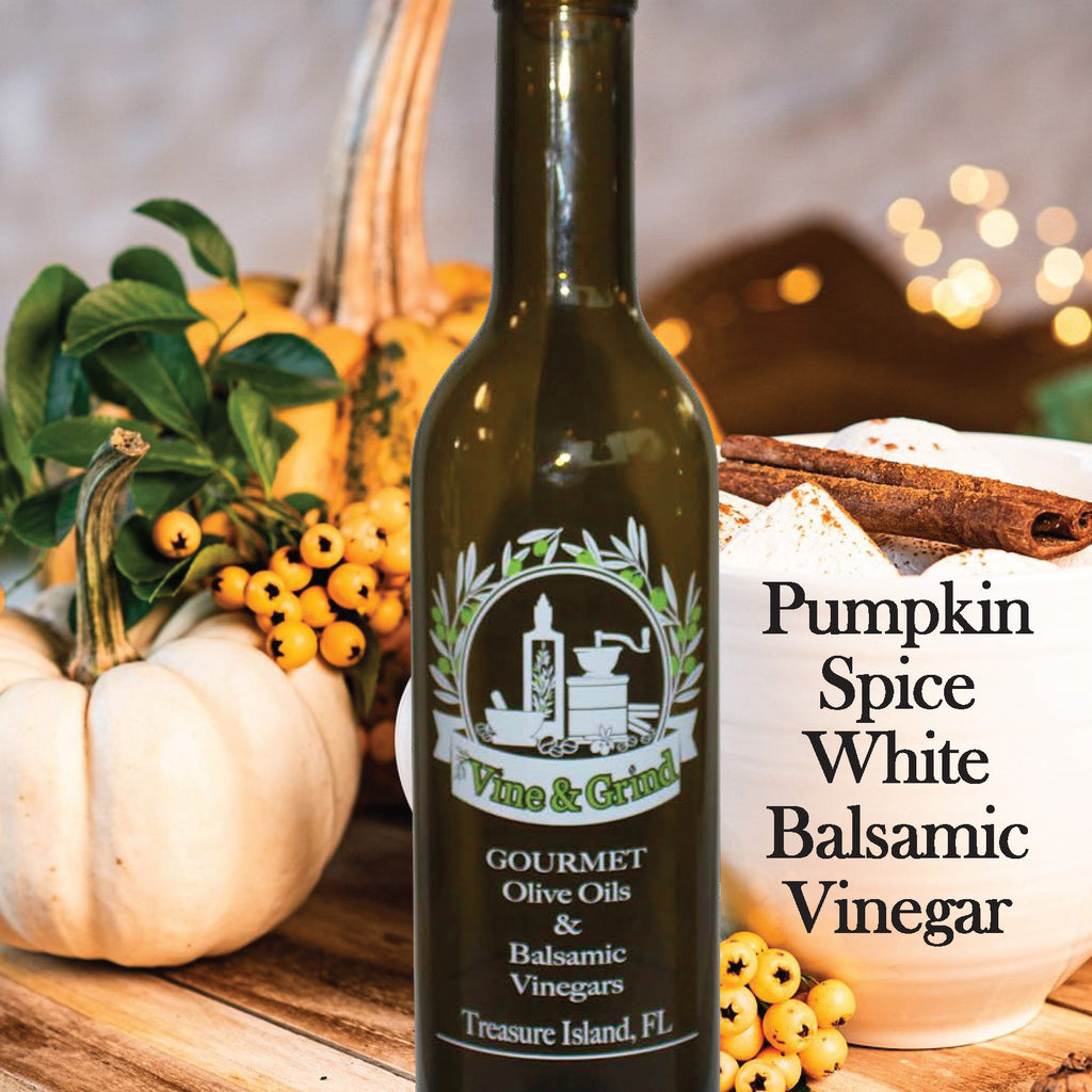 Pumpkin spice Balsamic Vinegar from Vine and Grind Treasure Island FL Great for the Holidays Christmas and Thanksgiving