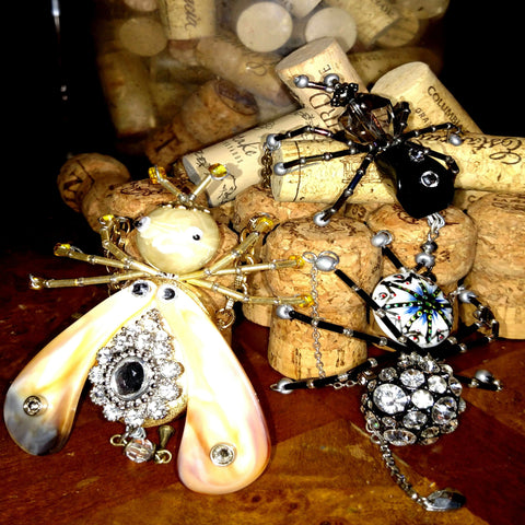 Jeweled Christmas Spider and jeweled bugs