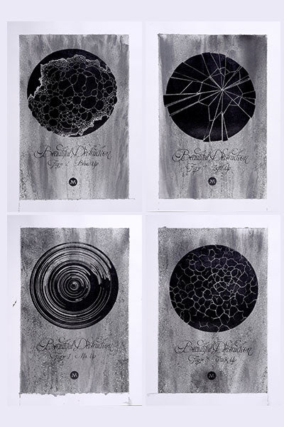 MakeArte - Beautiful Destruction #1,2,3,4 - Plata - A3 (4 PRINTS)