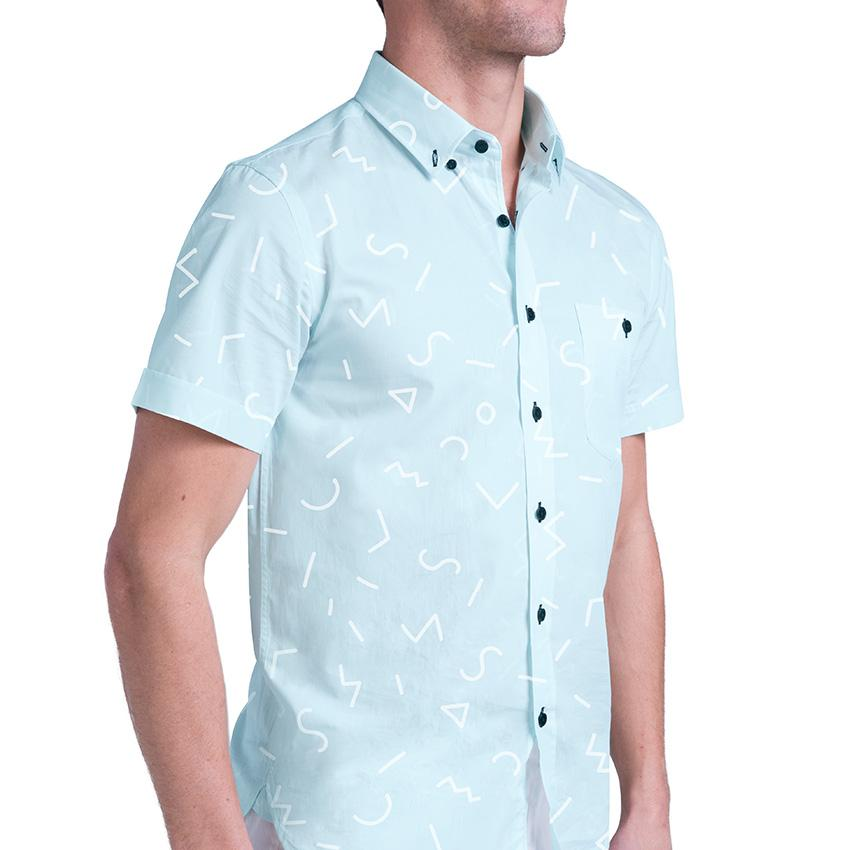 Image of MR. KOYA Men's Short Sleeve Button-Down Shirt in exclusive New Jack print.  100% Cotton shirt with white abstract rhythmic lines on light blue print.