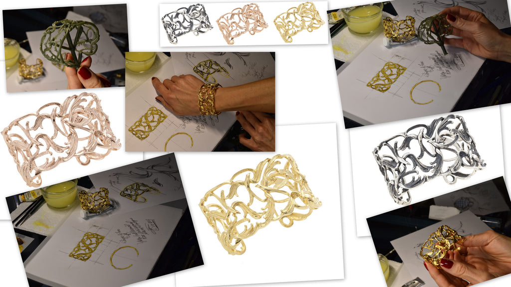 Stephanie drawing and painting her signature EMPI Cuff